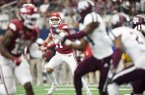 Arkansas quarterback Nick Starkel looks to pass during a game against Texas A&M on Saturday, Sept. 28, 2019, in Arlington, Texas.
