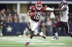 Arkansas Razorbacks wide receiver Treylon Burks (16) carries the ball during the fourth quarter of a football game, Saturday, September 28, 2019 at AT&T Stadium in Arlington, TX.