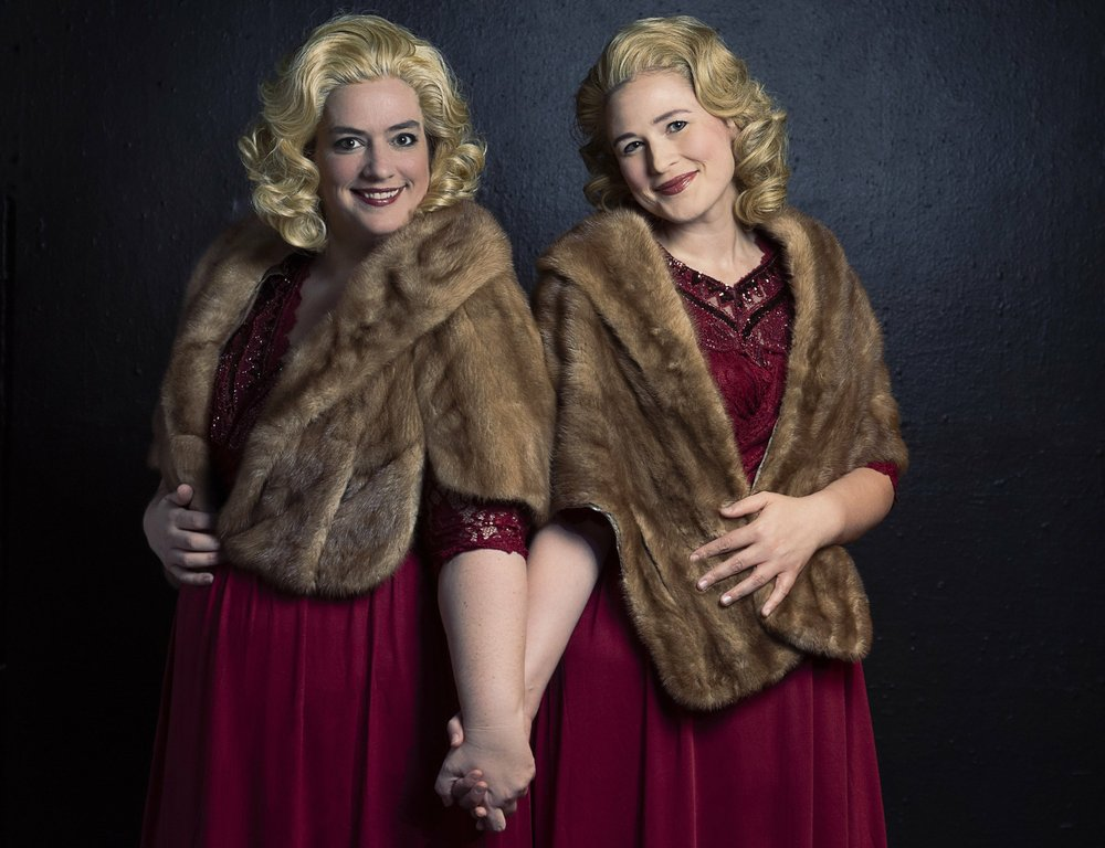 Erin Martinez Warner (left) and Sarah Haman play conjoined twins Daisy and Violet Hilton in ìSide Show,î opening Oct. 11 at The Weekend Theater.Photo Credit: Wendy Kelley