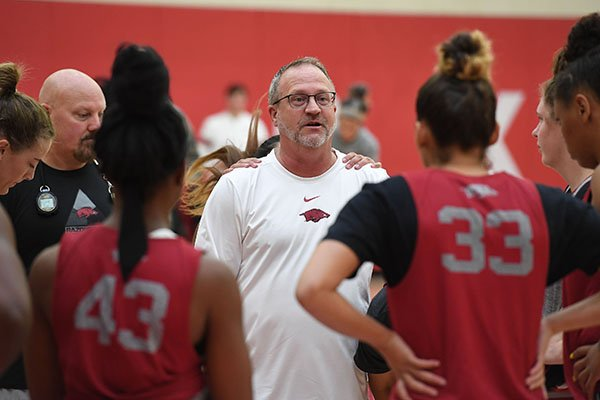 Arkansas coach Mike Neighbors talks to his team during practice Wednesday, Oct. 9, 2019, in Fayetteville.