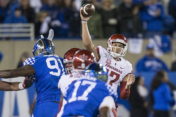 Arkansas quarterback Nick Starkel throws a pass during a game against Kentucky on Saturday, Oct. 12, 2019, in Lexington, Ky.