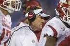 Arkansas coach Chad Morris is shown during a game against Kentucky on Saturday, Oct. 12, 2019, in Lexington, Ky.
