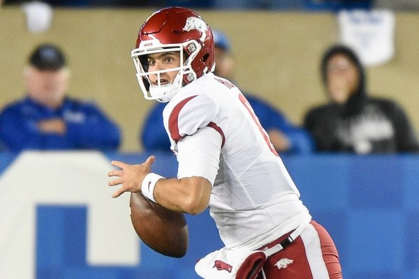 Arkansas quarterback Ben Hicks (6) looks for a receiver Saturday, October 12, 2019 during the third quarter of a football game at Kroger Field in Lexington, Ky. Visit nwadg.com/photos to see more photographs from the game.