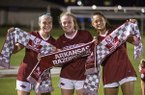 Arkansas players Anna Podojil (left), Reagan Swindall (center) and Kaelee Van Gundy celebrate after defeating Vanderbilt 1-0 on Thursday, Sept. 26, 2019, in Fayetteville.