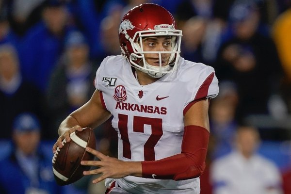 Arkansas quarterback Nick Starkel (17) during the NCAA college football game against Kentucky, Saturday, Oct. 12, 2019, in Lexington, Ky. (AP Photo/Bryan Woolston)
