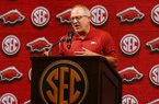 Arkansas head coach Mike Neighbors speaks during the Southeastern Conference NCAA college basketball media day, Thursday, Oct. 17, 2019, in Birmingham, Ala. (AP Photo/Butch Dill)