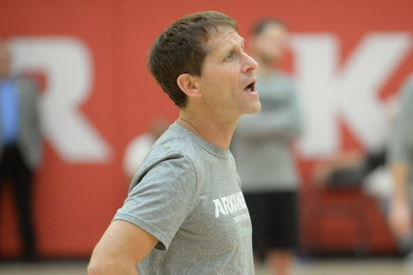 Arkansas coach Eric Musselman directs his players Thursday, Sept. 26, 2019, during practice in the Eddie Sutton Gymnasium inside the Basketball Performance Center in Fayetteville. Visit nwadg.com/photos to see more photographs from the practice.