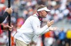Arkansas coach Chad Morris is shown during a game against Auburn on Saturday, Oct. 19, 2019, in Fayetteville.