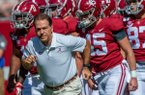 Alabama head coach Nick Saban leads his team onto the field for warm-ups before an NCAA college football game against Southern Miss, Saturday, Sept. 21, 2019, in Tuscaloosa, Ala. (AP Photo/Vasha Hunt)