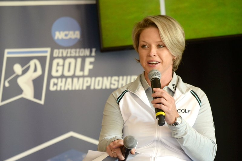 Lisa Cornwell, former Fayetteville High School and Arkansas golfer and current Golf Channel anchor, speaks Tuesday, April 9, 2019, during a press conference to announce the details of the NCAA Men's and Women's Golf Nation Championship at Blessings Golf Club in Johnson.