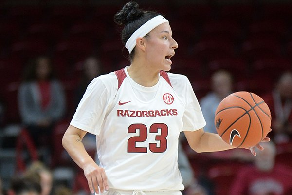 Arkansas guard Amber Ramirez speaks to her teammates as she brings the ball up the floor against Pittsburg State Thursday, Oct. 24, 2019, during the first half of play in Bud Walton Arena.