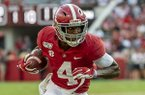 Alabama wide receiver Jerry Jeudy (4) gets loose against Ole Miss during the second half of an NCAA college football game, Saturday, Sept. 28, 2019, in Tuscaloosa, Ala. (AP Photo/Vasha Hunt)