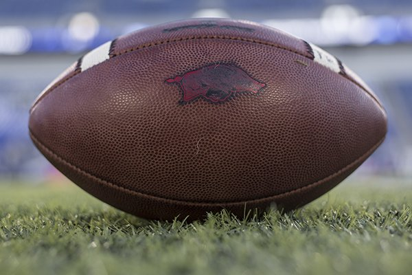 An Arkansas football is shown on the field prior to a game against Kentucky on Saturday, Oct. 12, 2019, in Lexington, Ky.