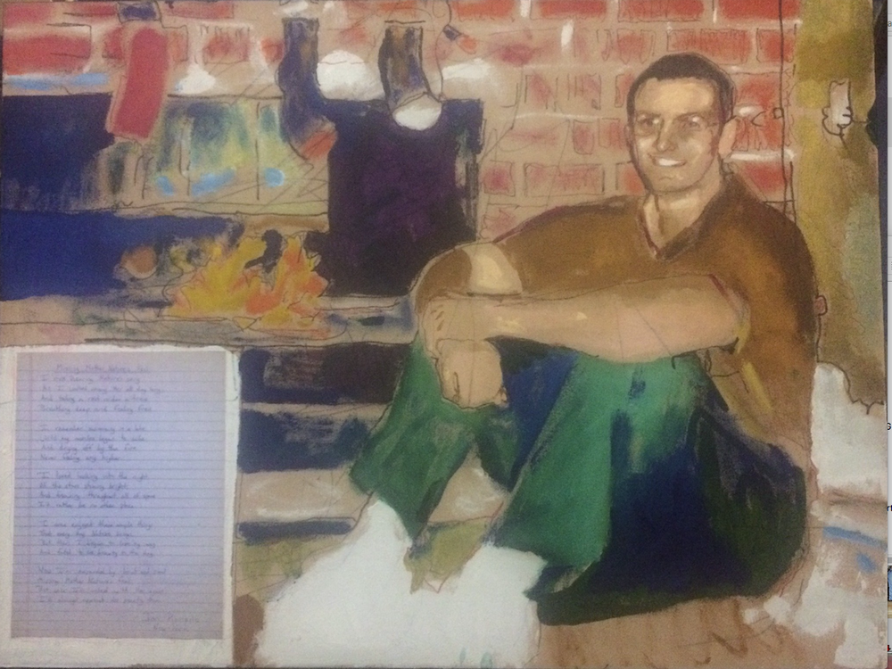 "John Kushmaul's ""Jon of New York"" is an acrylic and mixed media portrait. (Courtesy Compassion Works for All)"