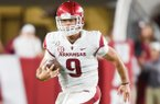 Arkansas quarterback John Stephen Jones (9) carries the ball, Saturday, October 26, 2019 during the third quarter of a football game at Bryant-Denny Stadium in Tuscaloosa, Ala. Visit nwadg.com/photos to see more photographs from the game.