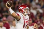 Nick Starkel, Arkansas quarterback, throws the ball in the second quarter vs Alabama Saturday, Oct. 26, 2019, at Bryant-Denny Stadium in Tuscaloosa, Ala.