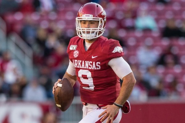 John Stephen Jones, Arkansas quarterback, scrambles in the third quarter vs Mississippi State Saturday, Nov. 2, 2019, at Reynolds Razorback Stadium in Fayetteville.