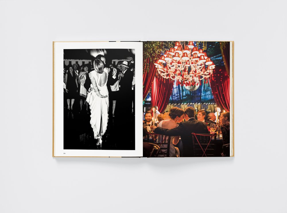 A spread in the colorful book shows the first dance of Alessandra Brawn and Jon Neidich (left). On the right, a couple in Bluffton, S.C., enjoy their wedding dinner. Bronson van Wyck handled both wedding parties. Andreas Waldschuetz took the photo on the left; Brian Wedge took the one on the right. (Photo via Phaidon Press Limited)