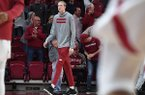 Connor Vanover is shown prior to a basketball game between Arkansas and Rice on Tuesday, Nov. 5, 2019, in Fayetteville. Vanover, a sophomore from Little Rock who played his freshman season at California, will have to sit out the 2019-20 season after his waiver for immediate playing time was denied by the NCAA.