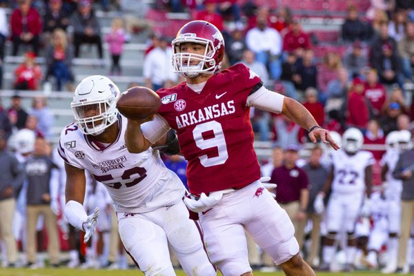 Arkansas Freshman John Stephen Jones (9) shotputs the ball in the 3rd quarter against Mississippi State at Donald W. Reynolds Stadium, Fayetteville, on Saturday, November 2, 2019