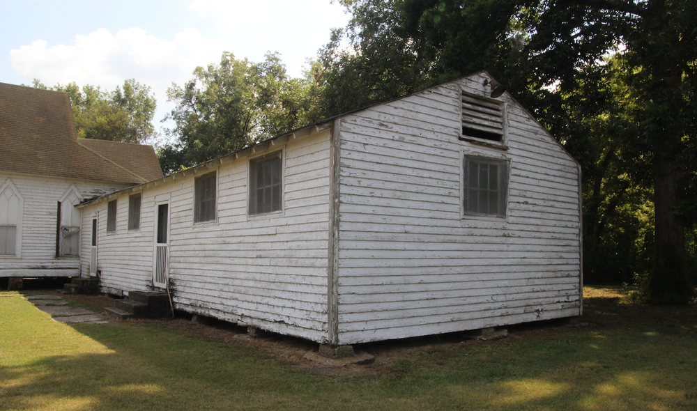 A barrack from Rohwer Internment Camp was used as an annex for a church in Arkansas City. (Special to the Democrat-Gazette/DEBORAH HORN)