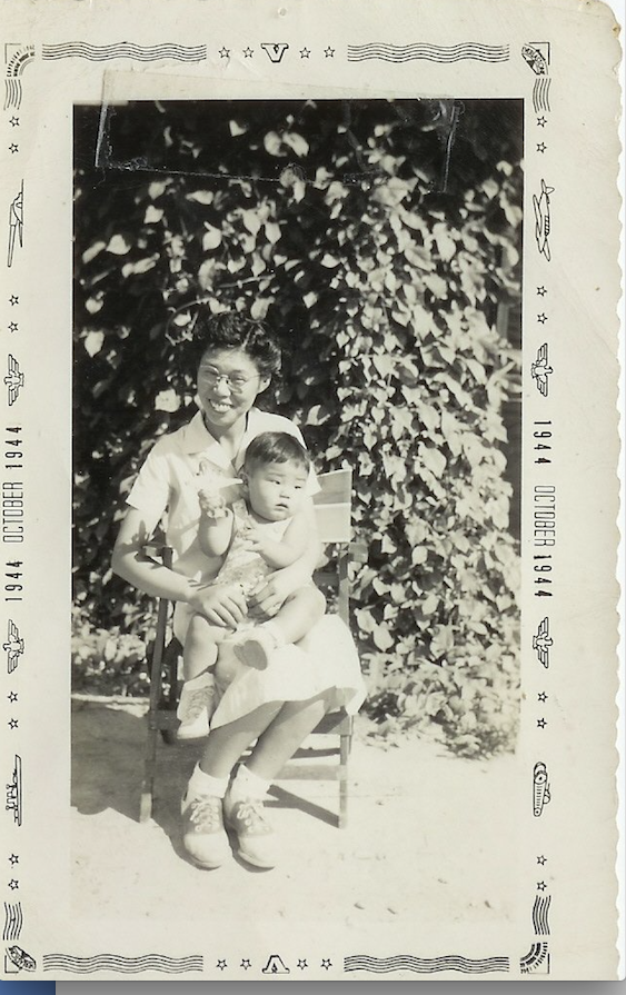 Haruye Yada and her son, Richard, were photographed at Rohwer War Relocation Camp, where Japanese Americans were held during World War II. (Courtesy Richard Yada)