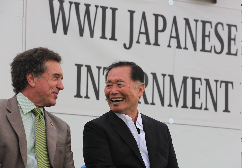 George Takei (right), who played Lt. Sulu on the TV series Star Trek, and Robert Moore Jr., Arkansas Highway Commissioner, were photographed in 2013 at the Jerome-Rohwer Interpretive Museum & Visitors Center in McGehee. Takei and his family were among Japanese American internees during World War II. (Democrat-Gazette file photo)