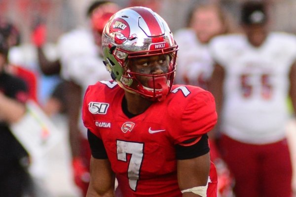 Western Kentucky receiver Jahcour Pearson lines up against Louisville in the second half of an NCAA college football game Saturday, Sept. 14, 2019, in Nashville, Tenn. (AP Photo/Mike Strasinger)