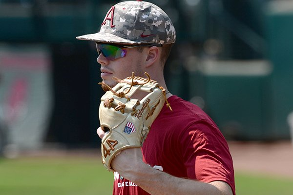 Arkansas junior Matt Goodheart is shown during practice Friday, Sept. 6, 2019, in Fayetteville. Goodheart was held out of scrimmages this fall after undergoing offseason shoulder surgery.