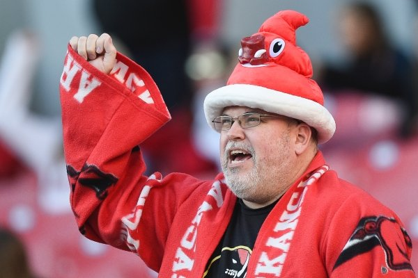 An Arkansas fan reacts, Saturday, November 2, 2019 during the third quarter of a football game at Donald W. Reynolds Razorback Stadium in Fayetteville.