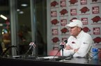 Arkansas coach Chad Morris answers questions following a 45-19 loss to Western Kentucky on Saturday, Nov. 9, 2019, in Fayetteville.