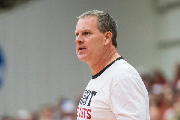 Clay Moser, Arkansas assistant coach, leads red team in the first half Saturday, Oct. 5, 2019, during the annual Arkansas Red-White Game at Barnhill Arena in Fayetteville.