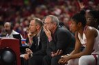 Head coach of the University of Arkansas women's basketball team Mike Neighbors is pictured November 8, 2019 during his teams 82-52 victory of New Orleans.