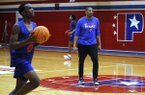 Little Rock Parkview basketball coach Scotty Thurman watches his players during the Patriots' practice on Wednesday, Nov. 13, 2019, at Parkview High School.