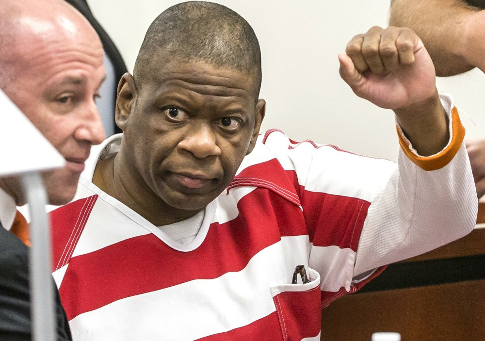 Texas inmate Rodney Reed gestures for the camera in this 2017 photo. Innocence Project co-founder Jason Flom has devoted the ninth season of his Wrongfully Convicted podcast to Reed's case. Reed's execution, scheduled for Wednesday, has been stopped by an appeals court. (Photo by Ricardo Brazziell via AP)