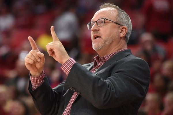Arkansas coach Mike Neighbors is shown during a game against New Orleans on Friday, Nov. 8, 2019, in Fayetteville.
