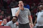 Arkansas coach Eric Musselman is shown during a game against Texas Southern on Tuesday, Nov. 19, 2019, in Fayetteville.