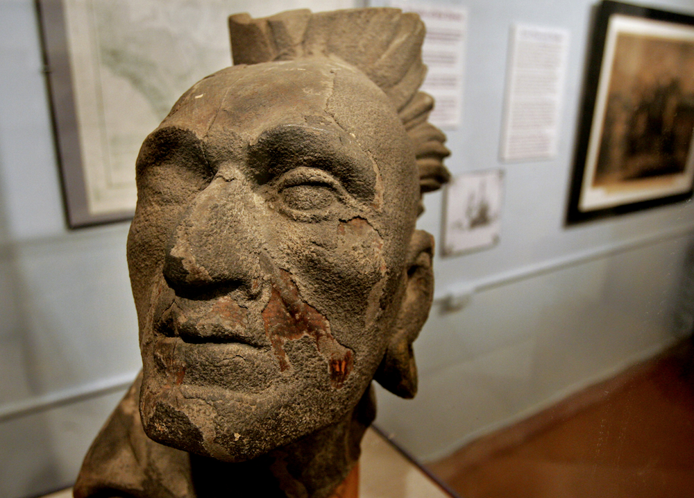 This circa 1880 sculpture of Squanto, also known as Tisquantum, is on display at Pilgrim Hall Museum in Plymouth, Mass. (AP)