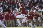 Arkansas running back Rakeem Boyd (5) carries the ball for an 86-yard touchdown drive, Saturday, November 9, 2019 during the fourth quarter of a football game at Donald W. Reynolds Razorback Stadium in Fayetteville.