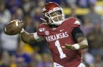 Arkansas quarterback KJ Jefferson throws a pass during a game against LSU on Saturday, Nov. 23, 2019, in Fayetteville.