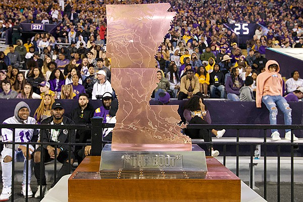 The Boot trophy is shown during a game between Arkansas and LSU on Saturday, Nov. 23, 2019, in Baton Rouge, La.
