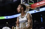 Georgia Tech guard Jose Alvarado reacts after a play during the second half of the team's NCAA college basketball game against Pittsburgh on Wednesday, Feb. 20, 2019, in Atlanta. Georgia Tech won 73-65. (AP Photo/Danny Karnik)