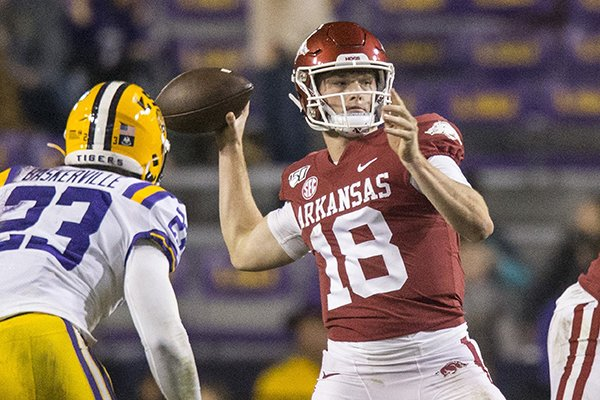 Arkansas quarterback Jack Lindsey throws a pass during a game against LSU on Saturday, Nov. 23, 2019, in Baton Rouge, La.