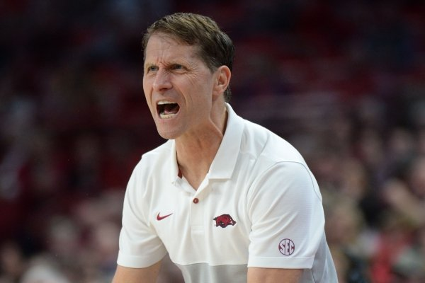 Arkansas coach Eric Musselman reacts Tuesday, Dec. 3, 2019, to a Razorback turnover during the second half of play against Austin Peay in Bud Walton Arena.