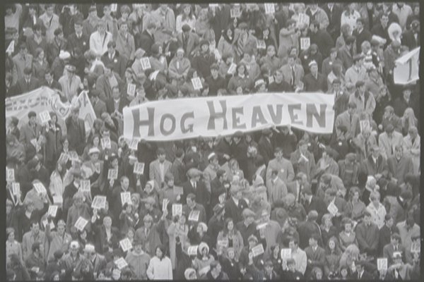 The crowd is shown during the Arkansas-Texas game on Dec. 6, 1969, in Fayetteville. (Charles Bickford, photographer, Shiloh Museum of Ozark History/Springdale News Collection)