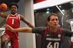 ESPN top 20 prospect Harrison Ingram and Arkansas coach Eric Musselman during Harrison's August visit to Fayetteville.