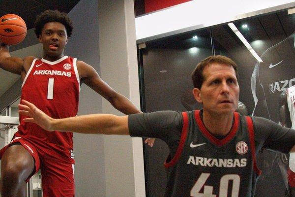 ESPN top 20 prospect Harrison Ingram and Arkansas coach Eric Musselman during Harrison's August visit to Fayetteville.