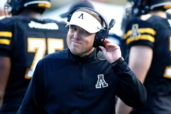 Appalachian State head coach Eliah Drinkwitz makes his way back to the sidelines during the second half of an NCAA college football game against Louisiana-Lafayette in the Sun Belt Football Championship on Saturday, Dec. 7, 2019, in Boone, N.C. (AP Photo/Brian Blanco)