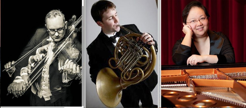 Andrew Irvin, violin; David Renfro, French horn; and May Tsao-Lim, piano, play works by Brahms and Sant-Saens plus seasonal works Tuesday at St. Luke's Episcopal Church in North Little Rock. Special to the Democrat-Gazette