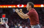 Arkansas basketball coach Eric Musselman is shown during a game against Tulsa on Saturday, Dec. 14, 2019, in Fayetteville.